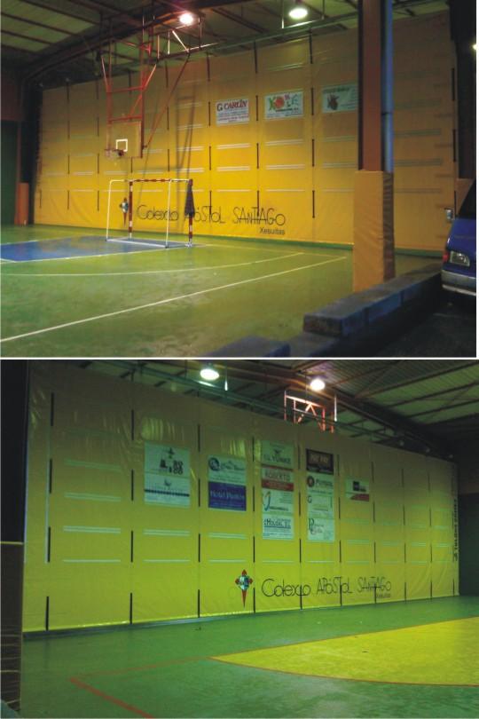 Cortina divisoria plegable en las instalaciones deportivas del Colegio Santiago Apóstol