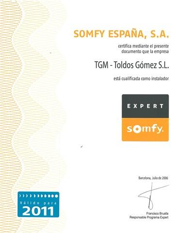 Somfy cualifica a Toldos Gómez como instalador Expert Somfy