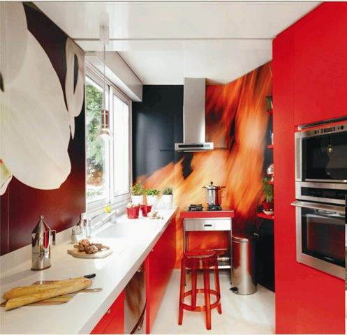Cocina decorada con murales encontrada en www.elle.es
