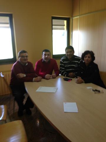 Donato, ex jugador del RC Deportivo de la Coruña, junto al Director Comercial y al Presidente de Administración de TGM